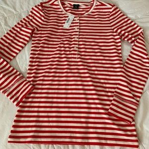 J Crew Red & White Striped Off The Shoulder Shirt